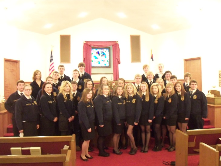 All the students who attended church on FFA sunday.