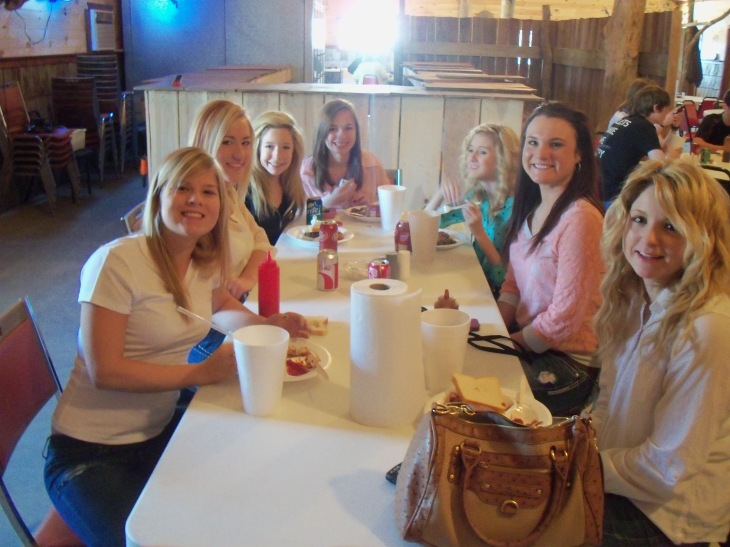 Lizzie Jennings, Cheyenne Champlin, Maddi Wheatley, Emily Ward, Mackenzie Yarick, Marriah Seider and Traci Stevener set down at Trents BBQ to have lunch after church.