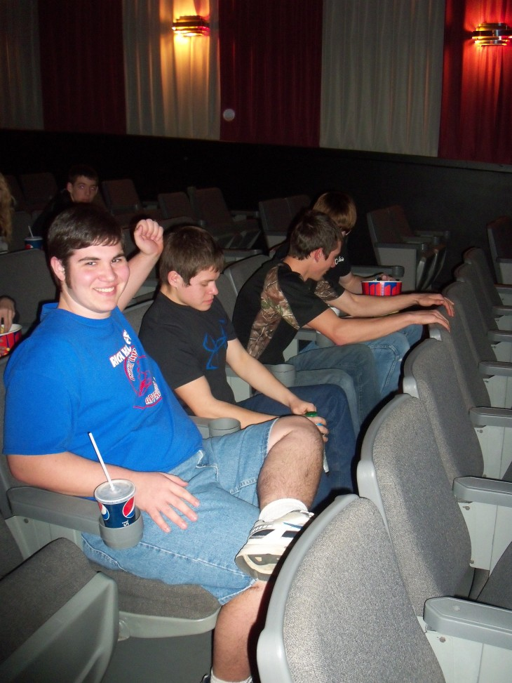 Jackson Ogburn, Devin Laning, Josh Mellenbruch and Cody Yarick wait for the movie to start.