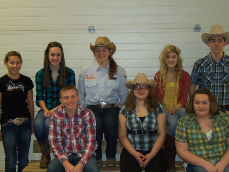 The Freshman group who dressed up for Cowboy/Indian day. Robin Schapler, Alli Taylor, Brhett Mumma, Mackenzie Yarick, Jacob Mumma, Bryant Courter, KJ Wright and Renae Clark.