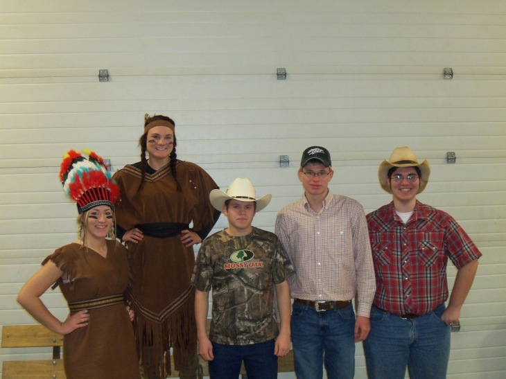 The Junior group of cowboys and indians. Cheyenne Champlin, Marriah Seider, Devin Laning, Hagen Fischer and Jackson Ogburn.