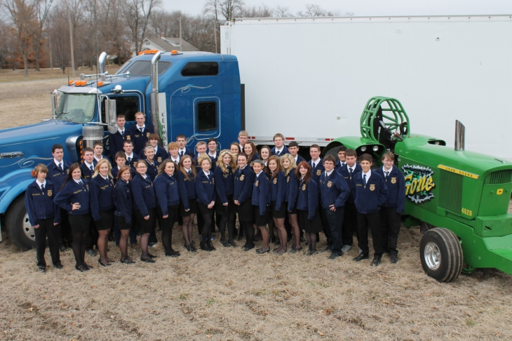 The Yarick family brought in one of their semis and pulling tractor for the FFA to take their group picture with.