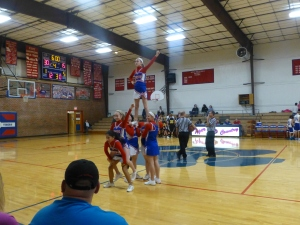 Hannah Becker up for the stunt