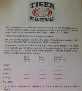 volleyball order form