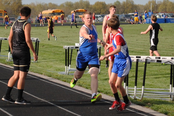 4x800m relay 2-Lucas Breckenridge to Michael Scrivener