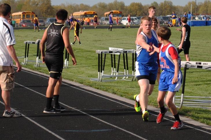 4x800m relay 3-Lucas Breckenridge to Michael Scrivener